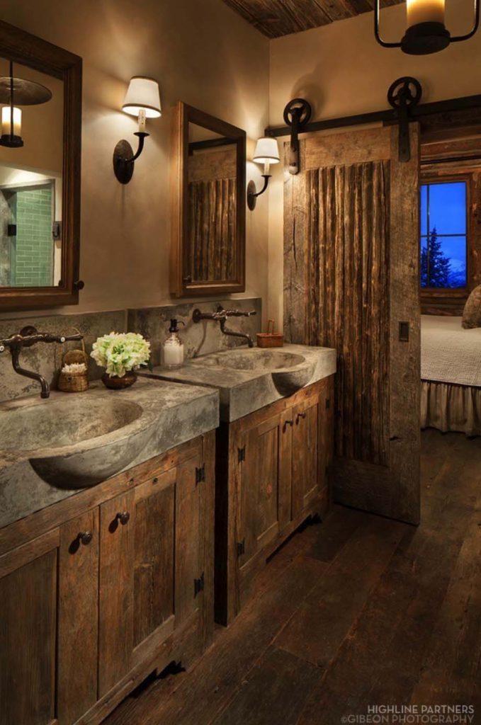 ванная комната в деревенском стиле рустик