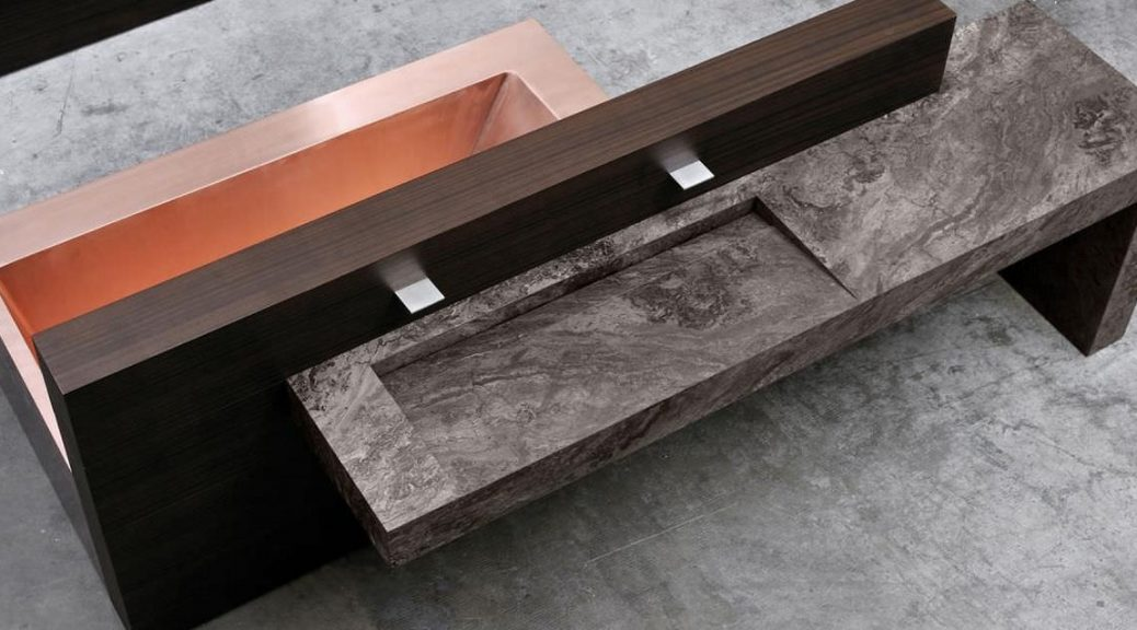 Euclide напольная раковина из камня и меди