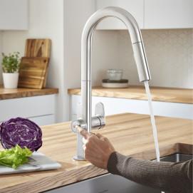 Beale смеситель для кухни с вытяжным душем, совмещенный с краном питьевой воды в тч с электронным дозатором воды, хром или матовая сталь