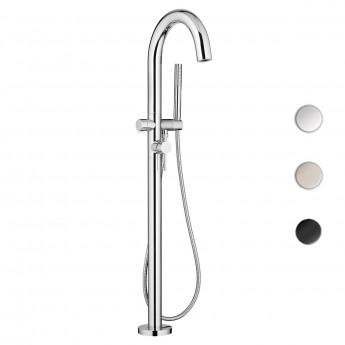 Round напольный смеситель в современном стиле для ванны с ручным душем хром никель черный матовый