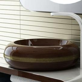 Egoist Ammonitum деревянная раковина круглая, накладная на столешницу