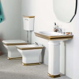 Fascia ArtCeram санфаянс в неоклассическом стиле с декором полоской золотом / платиной/ розовым золотом