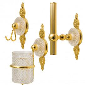Palmette Cristal аксессуары настенные для ванной с хрусталем Cristal et Bronze