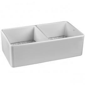 Hillside двойная мойка для кухни из керамики 84х45х25 см