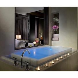 Sok Kohler встраиваемая спа акриловая ванна с верхним переливом с аэромассажем, хромотерапия 264х104 и 190х104