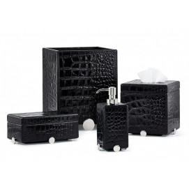 Discus Black Labrazel элитные аксессуары для ванной черная кожа (или темно-коричневая) и хромированные детали