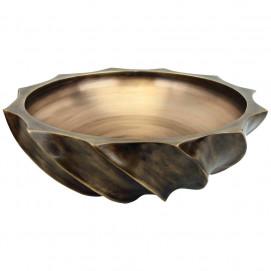 B007 раковина литая из бронзы круглая накладная на столешницу LARGE ROUND WAVE Linkasink