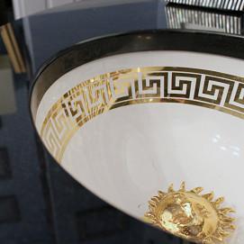 В НАЛИЧИИ Раковина встраиваемая с золотым греческим орнаментом меандр