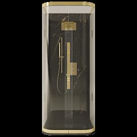Bolero YPSILON закрытая душевая кабина из гнутого стекла, пристенная, профиль золото