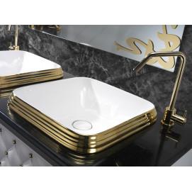 L609 L610 раковина квадратная накладная 46см Class AET белая, черная декор платина, золото