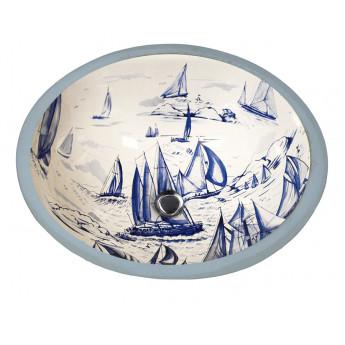 Blue Sailing раковина с синим голландским рисунком кораблики Atlantis Porcelain Art
