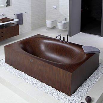 Laguna basic Bagno Sasso ванна прямоугольная из дерева встраиваемая или свобоодностоящая