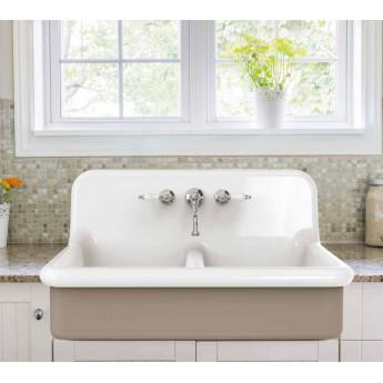 BLEU PROVENCE 90х68 см двойная кухонная мойка из керамики белая или цветная (или с декором), встраиваемая, навесная или на ножках