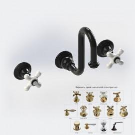 BLEU PROVENCE настенный ретро смеситель для раковины на 3 отверстия с высоким изливом хром, золото, никель, бронза, черный