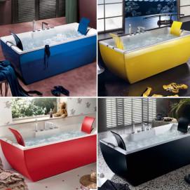 Kali Color Blu Bleu ванна прямоугольная из акрила с цветным экраном (например черный, красный, синий, желтый, любой цвет по RAL)