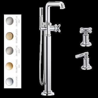 Invari смеситель премиум напольный для ванны нео классика с ручным душем хром золото никель