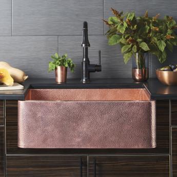 Кухонная мойка из меди с молотковым эффектом 80х47х25 см