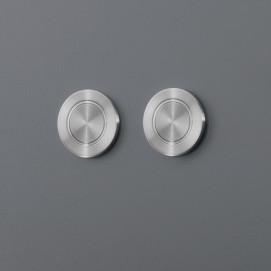 Дизайнерская смывная панель двойная в для инсталляции Geberit (Omega) или Tece форме круглых кнопок из нержавеющей стали