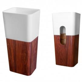 CIPI раковина напольная из искусственного камня и дерева в эко стиле