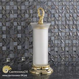 Ершик в стиле барокко для смесителей лебедь (swan) напольный, стакан матовый хрусталь база из латуни в отделке хром или золото Ciulli