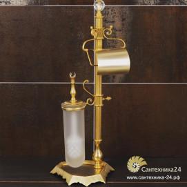 Стойка напольная для туалета в классическом стиле ершик с держателем туалетной бумаги Ciulli хром золото