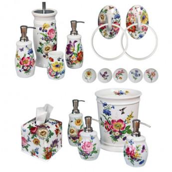 Аксессуары для ванной из керамики с цветочным рисунком (декором) премиум
