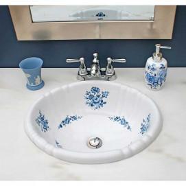 Decorated Bathroom раковина овальная встраиваемая для ванной с рисунком синяя роза в наличии