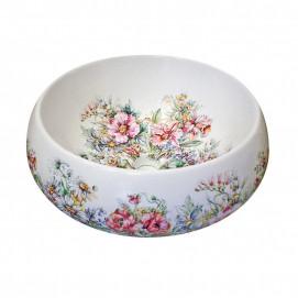 Decorated Bathroom Rococo Flowers Round круглая накладная раковина с цветочным рисунком