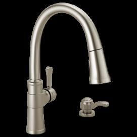 SPARGO кухонный смеситель в нео классическом стиле с выдвижным душем на 1, 2, 3, или 4- отверстия матовый хром с дозатором мыла в наличии
