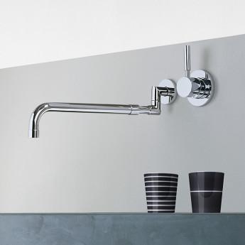 Meta 02 DornBracht кухонный смеситель настенный на 2 отверстия, поворотный раздвижной излив, хром платина матовый, бронза