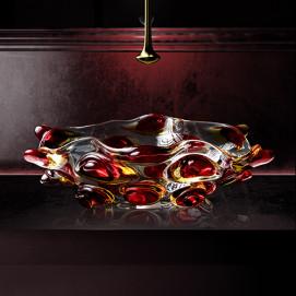 Arte Tre Glass Design цветная раковина из стекла накладная (муанское стекло) 65х42 см