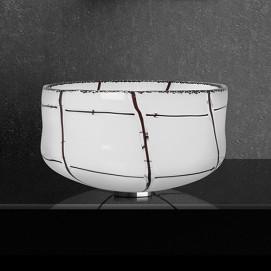 Canale Glass Design круглая накладная белая высокая раковина из муранского стекла 37 см