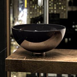 Chelo Glass Design сферическая высокая хрустальная раковина прозрачная (или из черного хрусталя) 34 см, H.17см