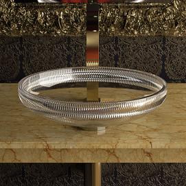Clivia GlassDesign круглая раковина из прозрачного хрустального стекла (или прозрачно черного стекла) 40 см, h.11 см