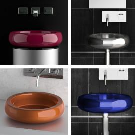 Glo Ball Glass Design круглая накладная раковина из окрашенной стали 40 см. H 11 см.