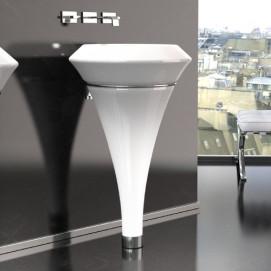 Isola Glass Design круглая напольная раковина из белого матового муранского стекла с подстветкой изнутри