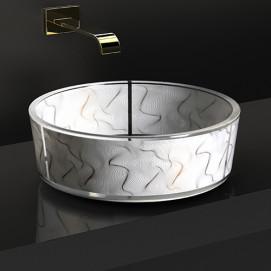 KARIM RASHID – Vento Glass Design круглая накладная раковина из стекла с декором
