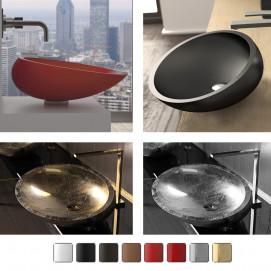 Glass Design Kool раковина овальная накладная из минерального литья 43х36 54х40 65х40 65х48 белая, черная, красная, серебро, золото