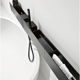 Agape Sen Смеситель настенный для ванны черный с ручным душем