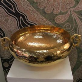 B003 Peruvian Linkasink раковина чаша из массивной бронзы с декоративными ручками золото, никель