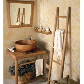 art. 4048 Bianchini&Capponi Etnica мебель для ванной из дуба с зеркалом и круглой раковиной