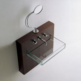 ABOX0210MC Agape навесная раковина из стекла с деревянной консолью