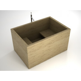 Квадратная сидячая деревянная ванна из беленого дуба Gongo UWD