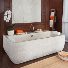 NIRVANA II прямоугольная ванна из камня Bati Bali с бортиком под смеситель