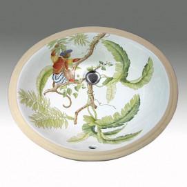 Monkey's Jungle раковина с рисунком джунгли Atlantis Porcelain Art