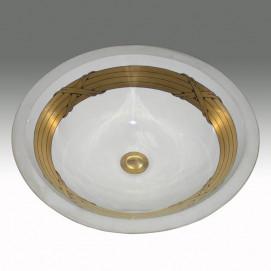 AP-1420 Reed & Ribbon раковина с декором стебли и ленты золото Atlantis Porcelain Art
