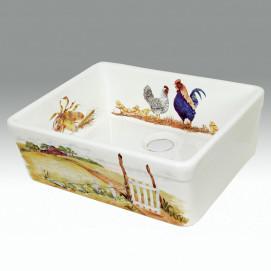 """AP-1801 The Farm кухонная мойка керамическая с декором """"ферма"""" (деревня) Atlantis Porcelain Art"""