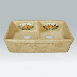 AP-1802 Tuscany кухонная мойка с двумя чашами с декором Atlantis Porcelain Art