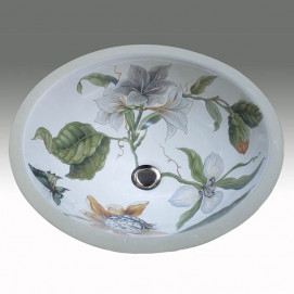 AP-1420 Flowers & Butterfly Hand Painted раковина Atlantis Porcelain Art