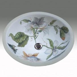 AP-1420 Flowers & Butterfly Hand Painted раковина Atlantis Porcelain Art